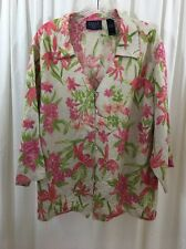 CRAZY HORSE WOMEN'S PLUS BLOUSE Size 2 Linen Blend 3/4 Sleeve Floral