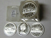 Roll of 20 Proof-Like 1965 Canada Silver Dollars Uncirculated .800 Fine Silver
