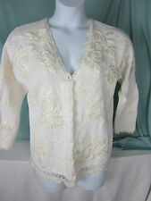 Cymbrian Fancy Sweater Cardigan Medium Pearls White Crewel Roses Bust 42 EPOC