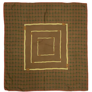 GUCCI CHECK BRIDLE BROWN LARGE silk Scarf  34/33 in #A107 S