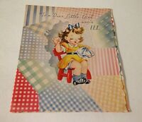 VINTAGE 1950s Get Well CARD  Little Girl Great Art Collectible