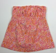 Lilly Pulitzer Strapless Top 10 Speed Bicycle Print Pink Orange Cotton Womens XS