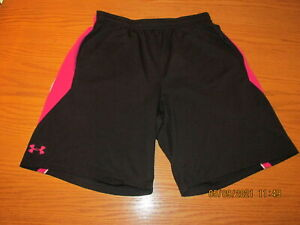 Under Armour Loose Fit Athletic Shorts Womens Large Black Pink