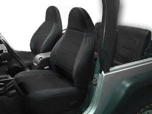 Jeep Wranglar TJ 1997-2002 Wetsuit Neoprene Seat Cover Set: Front & Rear- BLACK