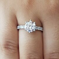 2.50 Carat Diamond Engagement Ring Round Cut 14K White Gold D VVS1