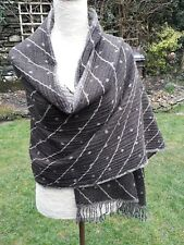 LARGE brown and GREY spot and fringe detail 100% Wool shawl wrap scarf