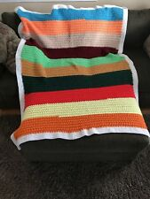Colorful Warm Cozy Crotchet  Afghan Striped Multi Color Throw Blanket