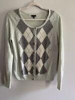 Talbots Women's Size M Blue Argyle Cardigan Sweater Lambswool Angora Blend