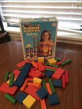 Vintage Playskool Wooden Blocks Lot of Colored Colorful Wood Assorted Shapes