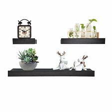 Wood Wall Shelves and Ledges Floating Decorative Home Dec Set of 3 Coffee Color