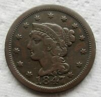 1847 1C BN Braided Hair Large Cent Nice Mid Grade Detail