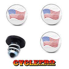 4 Custom Black LG License Plate Frame Tag Bolts USA FLAG ON WHITE - 166