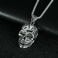 Totenkopf Skull Anhänger Halskette Hip Hop Biker Hals Silber Kette Lang Hip Hop