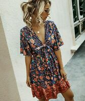 S New Boho Floral Tie Front Blue Summer Gypsy Festival Dress Womens Size SMALL