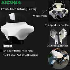 White Detachable Batwing With 6X9 Stereo Set up Fairing For Harley Road King Hot