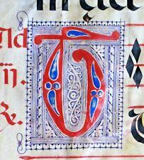 Flawed Huge deco.Antiphonary Manuscript Lf.Vellum,3 fancy initials,c.1500 #88