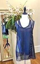 NWT Maison Margiela Layered Crochet-Knit & Sheer Georgette Top Black $995 - S