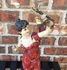 "17"" Antique Art Nouveau Deco Bronze Lady W/Bird Figurine Posing Free Shipping"