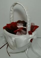 Pearl Satin Bow knot Wedding Party Flower Girl Basket Ivory