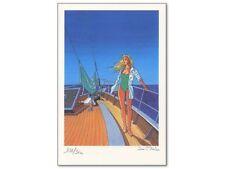 Ex-libris Offset Bleu Lézard Helen sur un voilier