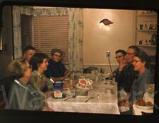 1950s 35mm  Kodachrome Photo slide Family have cake and ice cream home interior