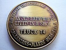Rare 1967 OLD LADY WHO LIVED IN A SHOE Antique Bronze Mardi Gras Doubloon