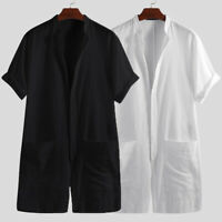 Men's Short Sleeve Playsuit Casual Buttons Jumpsuit 100% Cotton Overalls Romper