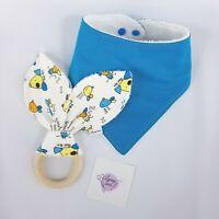 Dog Print Blue Baby Bandana Bib & Rabbit Ear Teether Gift Set Handmade New (LS25