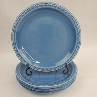Set of 4 VTG Salad Plates SYRACUSE China Econo Rim Restaurant Ware Blue 7 1/4""