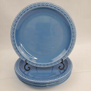 "Set of 4 VTG Salad Plates SYRACUSE China Econo Rim Restaurant Ware Blue 7 1/4"""