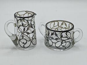 Vintage Silver Overlay Cream and Sugar Set Clear Glass