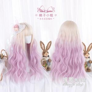 Japanese Daily Princess Cospaly Harajuku Lolita Wig Curly Long hair Gradient GF2