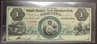 1850's $1 State Bank of New Brunswick New Jersey Obsolete Currency Note
