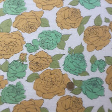 "Vintage Full Feed Sack Gold & Mint Roses 43"" x 36"""