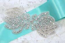 Vintage Style Diamante Crystal Beaded Wedding Bridal Sew on Applique