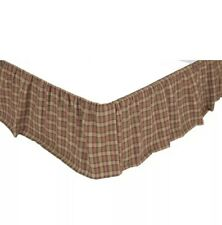 VHC Brands Crosswoods - QUEEN BEDSKIRT Cotton Plaid - Gathered Dust Ruffle