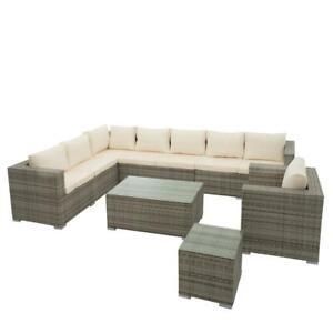 Polyrattan Garten Lounge Set Sitzgruppe Gartenmöbel Set Rattan Essgruppe Grau