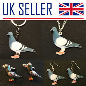 Pigeon Fancier Gifts- Large Keyring, Necklace, Cufflinks, Earrings, Bird, Racing