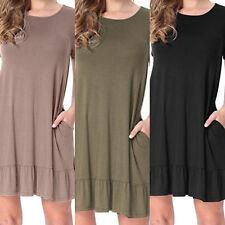 KQ_ Women Short Sleeve Solid Pocket Draped Loose Swing Summer T-Shirt Dress Nove
