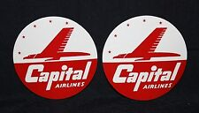 Two (2) Vintage Capital Airlines Luggage Labels Mint Never Hinged