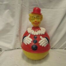 Vintage 1950's Knickerbocker ROLY POLY Molded Celluloid Plastic Clown Music Toy