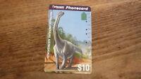 OLD AUSTRALIAN TELECOM PHONECARD, $10 DINOSAUR AUSTROSAURUS