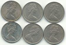 HIGHER GRADE LOT 6 GREAT BRITAIN 10 PENCE COIN-1968,1969,75,76,1979,1980-JUN451