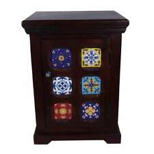 Indian Solid Wood Nightstand with Hand painted Tiles & 1 Door Small Size