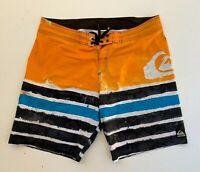 QUIKSILVER Kelly Slater men's orange board surf beach shorts size 38