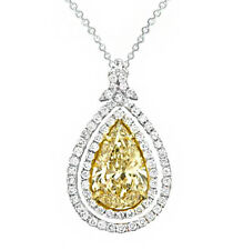 Pear Shape Diamond Ladies Pendant GIA Certified Fancy Yellow 18k Gold 4.52 Carat