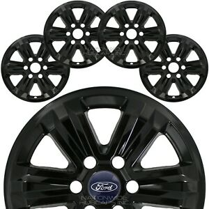 "4 Black 2015-2020 Ford F150 XLT 17"" Alloy Wheel Skins Full Rim Covers Hub Caps"