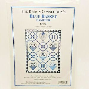 Counted Cross Stitch Kit Blue Basket Sampler Design Connection K7-685