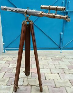 Floor Standing Nautical Brass 39 Inch Telescope With Wooden Tripod Stand 64 Inch