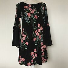 Ladies Black floral long sleeved dress, M & S Collection. Size 10